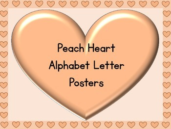 Peach Heart Full Page Alphabet Letter Posters Uppercase an