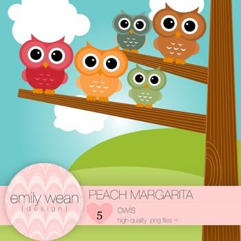 Peach Margarita - Owl Clip Art