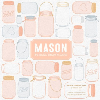 Peach Mason Jars Clipart & Vectors - Ball Jar Clipart