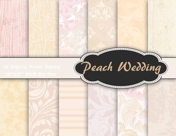 Peach Wedding Digital Paper Pack Printable Peach Pink Back