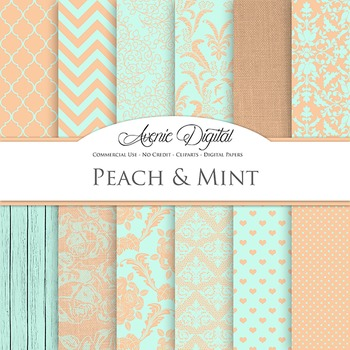 Peach and Mint Wedding Digital Paper patterns - bridal gre