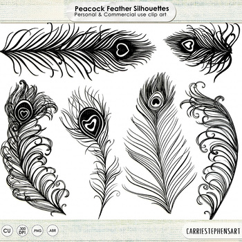 Peacock Feather Silhouette ClipArt, Bird Feathers Graphics