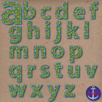 Peacock Feathers & Glitter Digital Alphabet & Numbers Clip