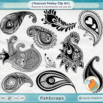 Peacock Paisley Digital Stamps, Paisley Clipart