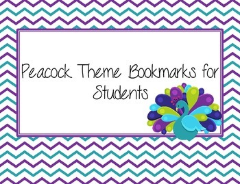 Peacock Theme Bookmarks for Students Purple Teal and Lime Green