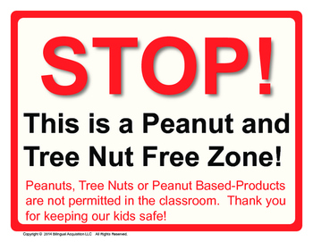 Peanut and Tree Nut Free Zone Poster