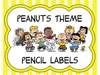 Peanuts Theme Pencil Labels