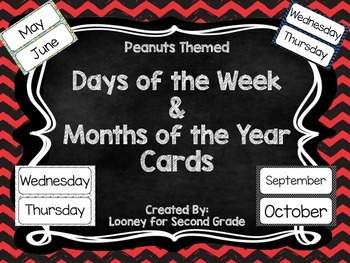 Peanuts Themed Days of the Week and Months of the Year Cards
