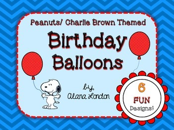Peanuts or Charlie Brown Themed Birthday Balloons