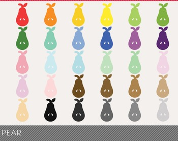 Pear Digital Clipart, Pear Graphics, Pear PNG, Rainbow Pea