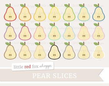 Pear Slice Clipart; Fruit