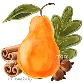 Pear and Spices - pear clip art, spice clip art Printable
