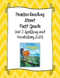 Pearson Reading Street First Grade Unit 2 Spelling & Vocab