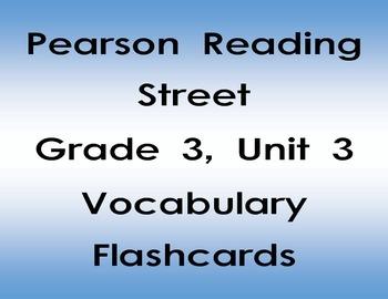 Pearson Reading Street Grade 3 Reading Vocabulary Flash Cards