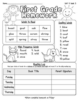 Pearson Reading Street Homework Cover Sheets Unit 4