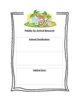 Pebble Go Animal Research Graphic Organizer