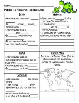 PebbleGo ~ Apatosaurus Research Graphic Organizer