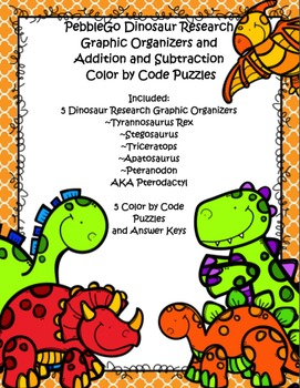 PebbleGo ~ Dinosaur  Research Graphic Organizer ~BUNDLE~