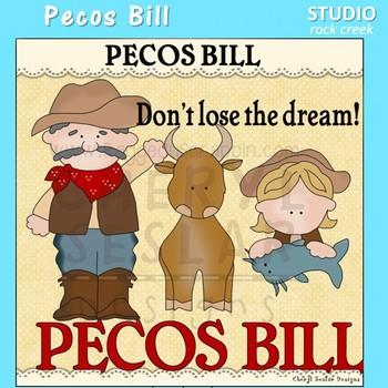 Pecos Bill  US History Color Clip Art  C. Seslar