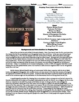 Peeping Tom Film (1960) Study Guide Movie Packet