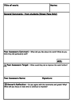Peer Assessment Sheet - Save hours of marking