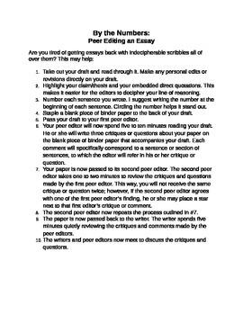 Peer Editing An Essay