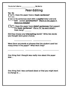 Peer Editing Checklist for Writers Workshop