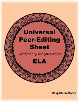 Peer Editing Printable, ELA 7-12