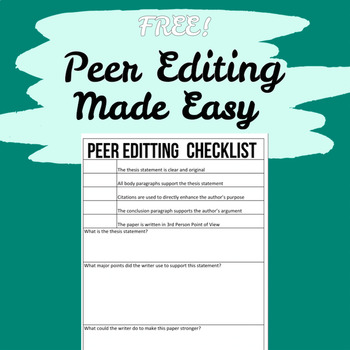 Peer Editing: Research Paper