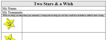 Formative Assessment - Peer Editing - Two Stars & a Wish