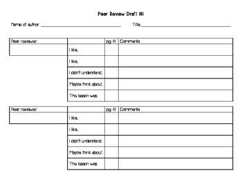 Peer Review Graphic Organizer