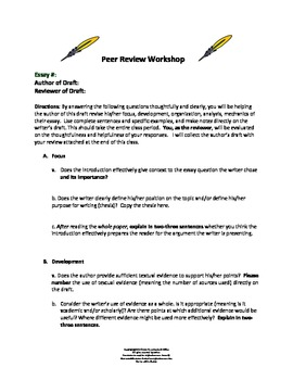Peer Review Workshop:  A Common Core Staple
