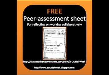 Peer-assessment sheet for paired work or group work