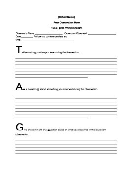 Peer observation Template