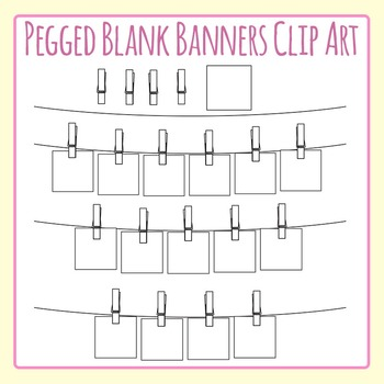 Pegged Blank Word Banner / Bunting for Word Word Etc Clip