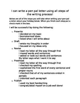Pen Pal Writing Process-Editable