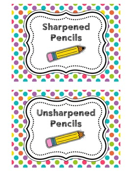 Pencil Bucket Labels - Sharpened/Unsharpened - Polka Dots