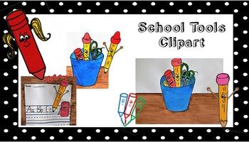 School Tools Clip Art - crayon, pencil, paper