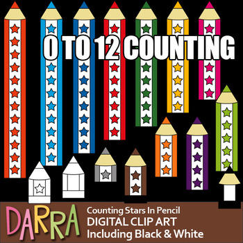 Pencil Clip Art for teaching numbers (counting stars), col