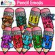 Pencil Emoji Clip Art {Back to School Emoticons and Smiley