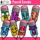 Pencil Emoji Clip Art - Emoticons and Smiley Faces - Back