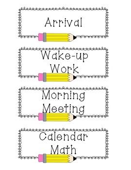 Pencil Frame Agenda Cards