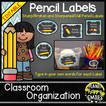 Pencil Labels - Sharpened/Unsharpened or Sharp/Broken, Tea