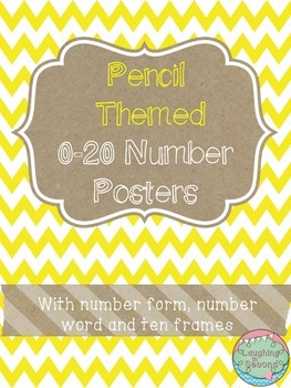 Pencil Themed 0-20 Numbers Posters