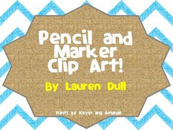 Pencil and Marker Clip Art