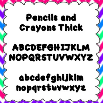 Pencils and Crayons Thick Font {personal and commercial us