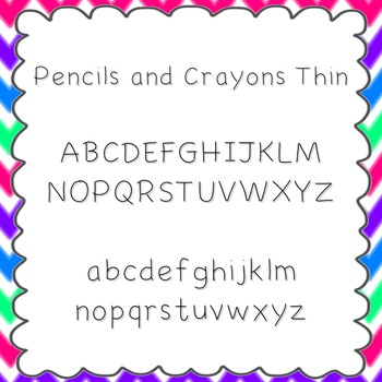Pencils and Crayons Thin Font {personal and commercial use