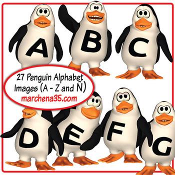 Penguin Alphabet Clip Art Set -  27 Images (A - Z plus Ñ)