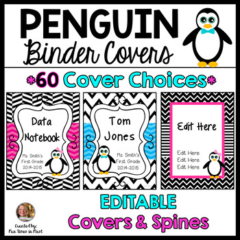Penguin Binder Covers (Editable)~ Teacher or Student with Spines