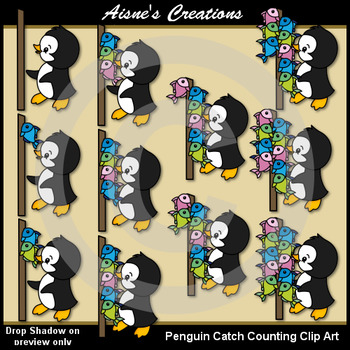 Penguin Catch Clip Art Counting Set